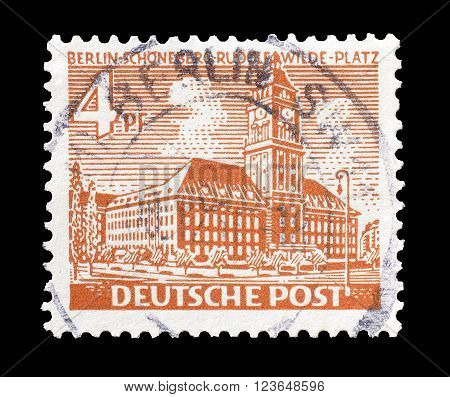 GERMANY - CIRCA 1949 : Cancelled postage stamp printed by Germany, that shows Schonenberg city hall.