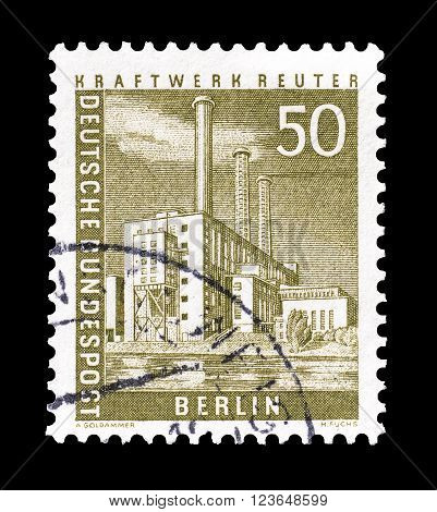 GERMANY - CIRCA 1956 : Cancelled postage stamp printed by Germany, that shows power plant Reuter.