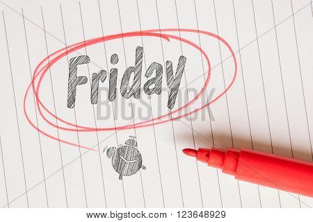 Friday Note With A Red Circle