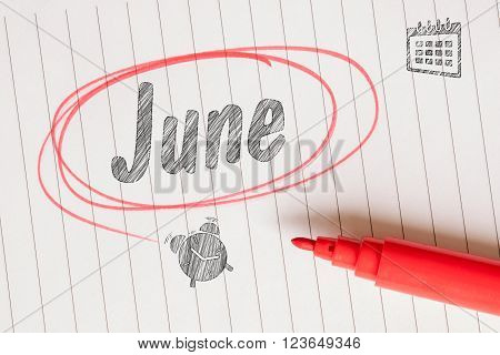 June Note With A Red Brush Circle