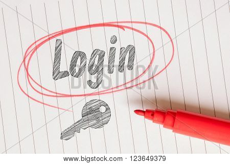 Login Note With A Red Circle