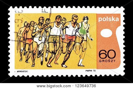 POLAND - CIRCA 1970 : Cancelled postage stamp printed by Poland, that shows cross country race.