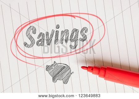 Savings Note With A Piggy Bank