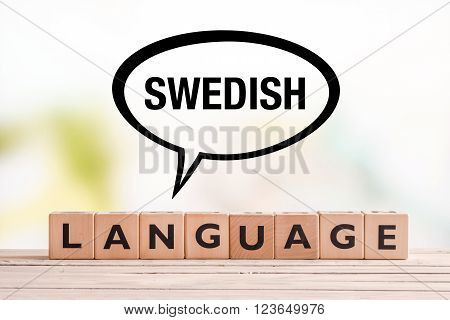 Swedish Language Lesson Sign On A Table