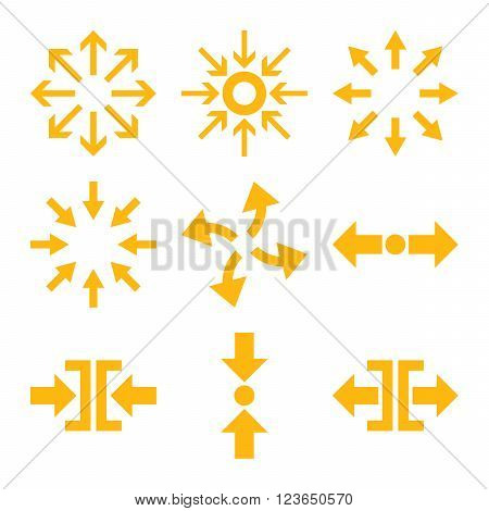 Compress and Explode Arrows vector icon set. Collection style is yellow flat symbols on a white background.