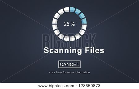 Scanning Files Searching Processing Anti virus Concept