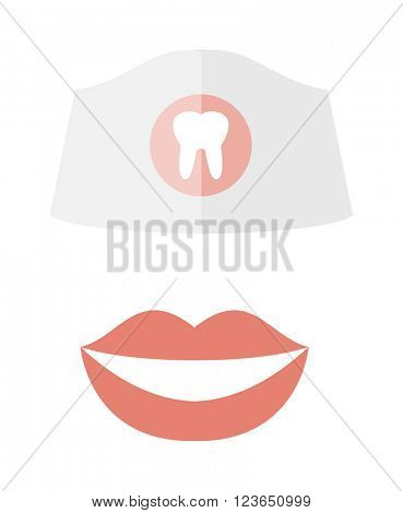 Woman smile teeth whitening dental care vector.
