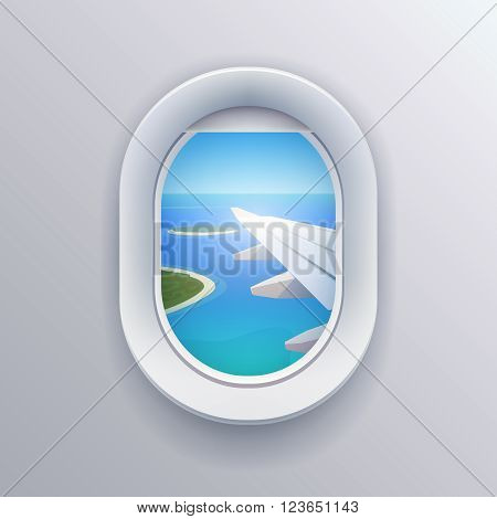 View from plane View from airplane. Window plane. Airplane view. Aircraft window. Flight window. Airline passenger. Vacation destinations. Summer holiday. Tropical beach. Flat web vector illustration
