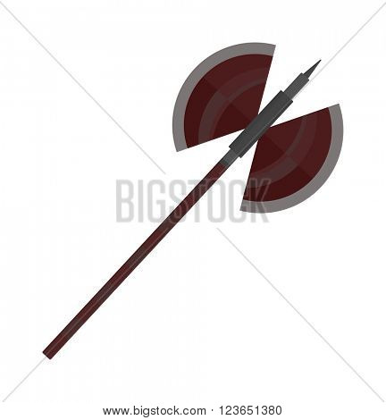 Axe steel isolated and sharp axe cartoon weapon icon isolated on white and wooden axe cartoon flat icon of handle wood work equipment vector illustration.