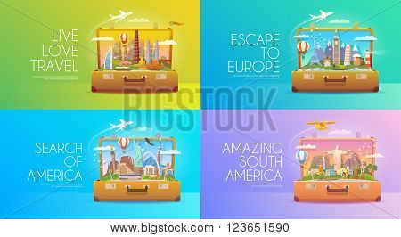 Trip to World. Travel to World Vacation. Road trip. Tourism. Travel banner. Open suitcase with landmarks. Journey. Travelling illustration. Modern flat design. EPS 10. Colorful. America Asia Europe