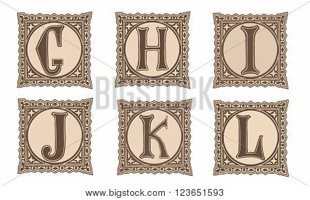 Vintage set capital letters, floral Monograms and beautiful filigree font. Art Deco, Nouveau, Modern style. Part 2