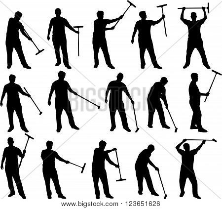 various janitor man black vector silhouettes on white background