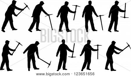 Man with pick mattock black vector silhouette