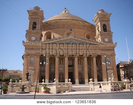 Mosta Malta June 20 2013: The Church of the Assumption of Our Lady or the Rotunda of Mosta or Rotunda of St Marija Assunta or The Mosta Dome