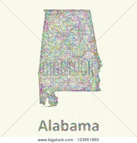 Alabama line art map from colorful curved lines
