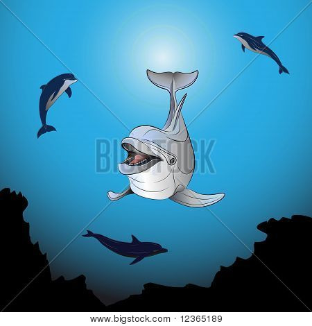 Dolphins Playing The Sea