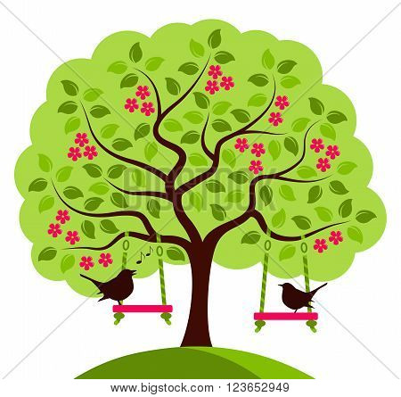 vector flowering tree with swings and couple of birds isolated on white background