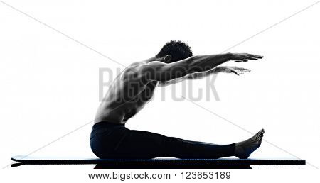 man pilates exercises fitness isolated