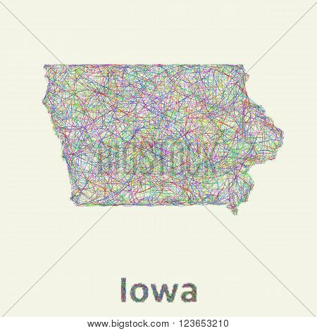 Iowa line art map from colorful curved lines