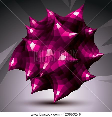 Abstract asymmetric vector purple object constructed from different elements complicated geometric shape.