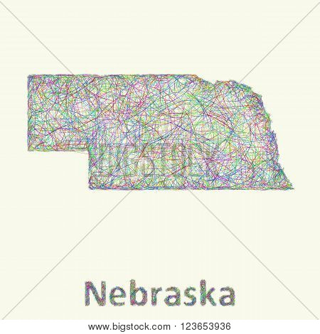 Nebraska line art map from colorful curved lines