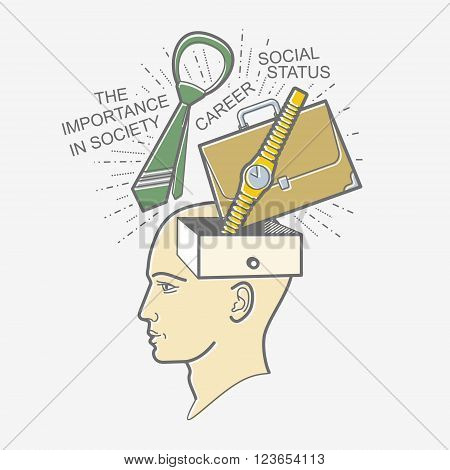 The man's head. Illustration in the style of linear design on a man's mind: career, high position, job, social recognition, prestige.