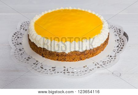 Advocaat cake on white wood background picture
