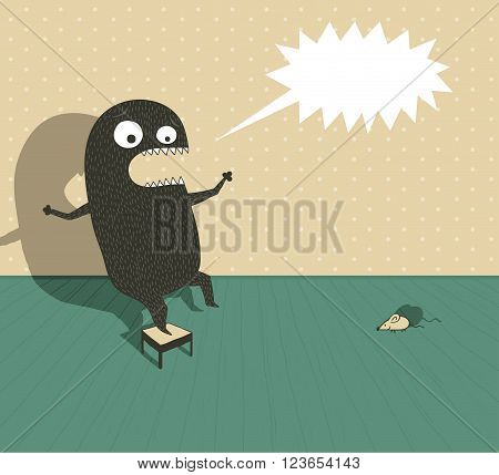 Illustration of a funny monster on a small chair shouting because he's scared by a little mouse
