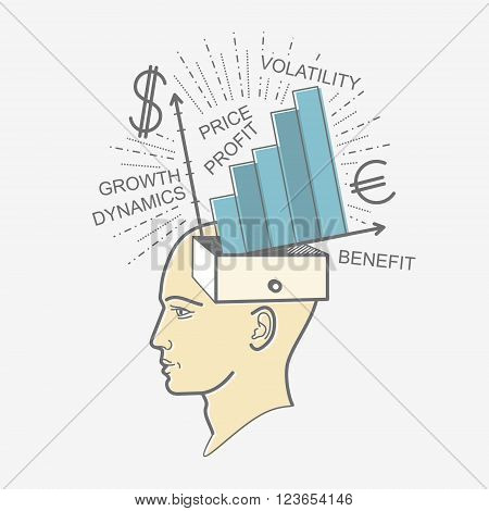 The man's head. Illustration in the style of linear design on a man's mind: the economy, income, profit, dollar, Euro, currency, money, work, development.