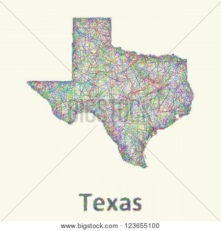 Texas line art map from colorful curved lines