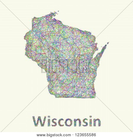 Wisconsin line art map from colorful curved lines
