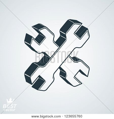 Two dimensional spanners crossed vector illustration. 3d engineering design element,  manufacturing tools. Repair theme icon.