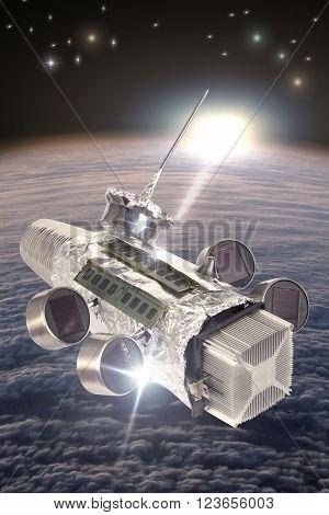 Homemade solar powered spaceship satellite in orbit around earth