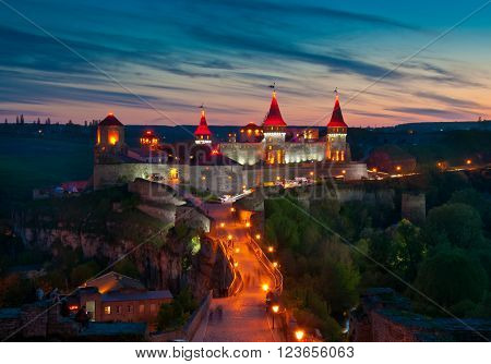 Old castle in Kamenetz Podolsk in Ukraine night view