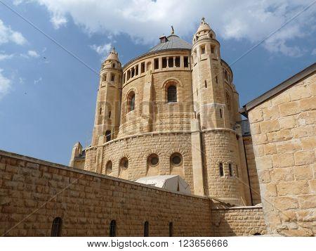 The medieval Dormition Church in Jerusalem Israel