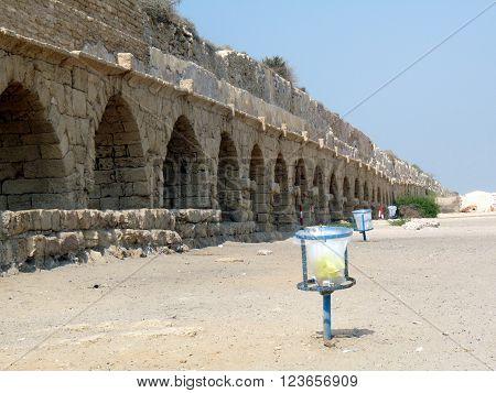 An ancient roman Aqueduct in Cesarea,  Israel