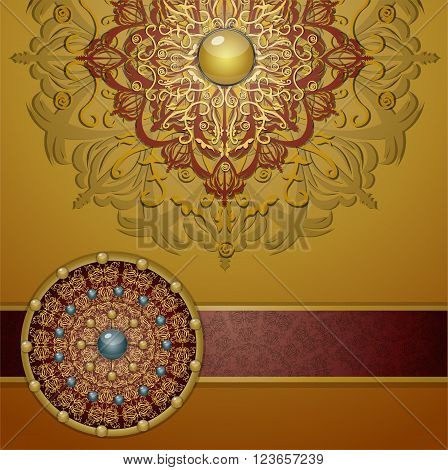 Retro background with ornament Illustration 10 version