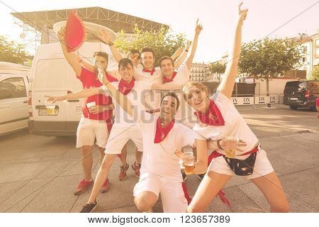 Spain Navarra Pamplona 10 July 2015 S Firmino fiesta People having fun at the opening of the San Fermin festival