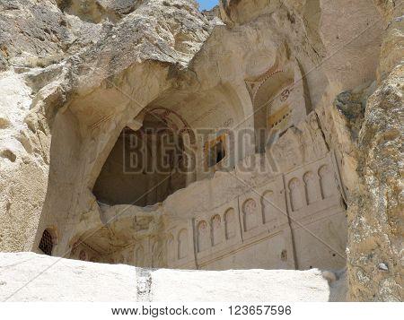 A chapel in rock Goreme Cappadocia Turkey