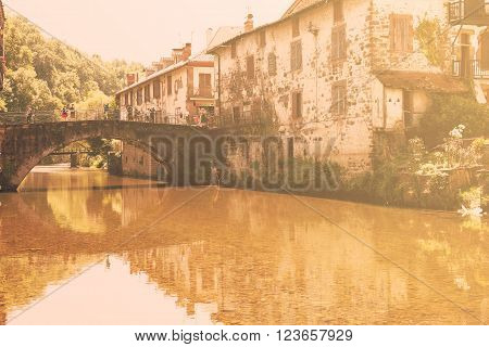 FRANCE JULY 10 2015 Saint Jean Pied de Port seen from Nive River Pilgrimage Road to Santiago de Compostela Basque country Atlantic Pyrenees