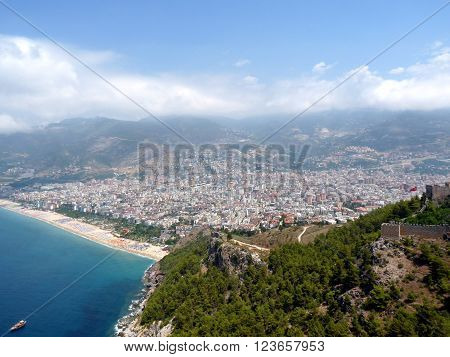 Sea, beach and the city of Alanya, view from the Alanya castle, Turkey