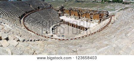 The ancient roman Hierapolis Amphitheatre Anatolia Turkey