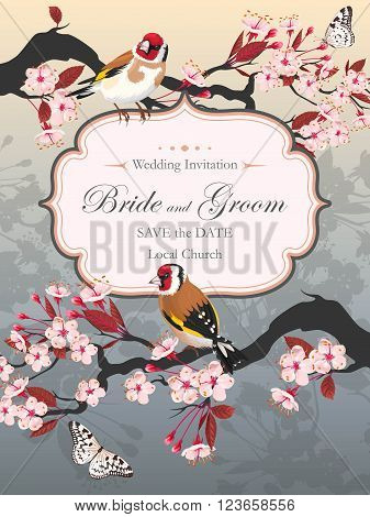 Vector vintage wedding card with blooming cherry and goldfinch