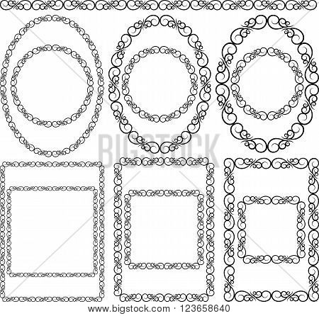 silhouettes of decorative frames - clip art  illustration