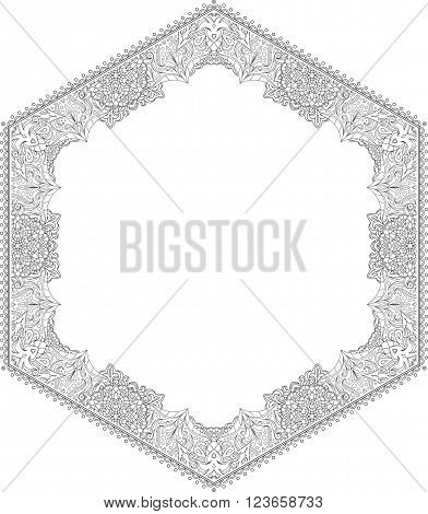 Unusual Hexagon Rich Decorated Floral Decorative Frame With Empty Space For Your Design Or Text. Vec
