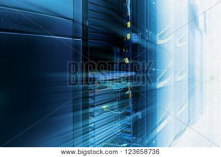 inside server room with rows of modern mainframes