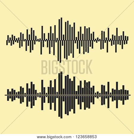 Vector sound waves set. Audio equalizer technology, pulse musical. Vector illustration of music pattern and texture. EPS10