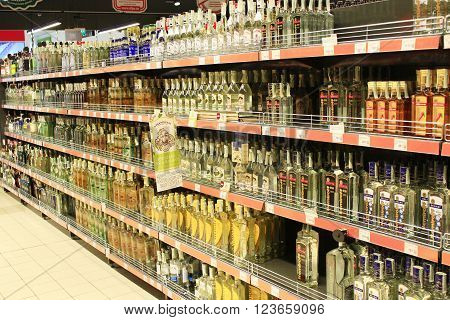 Chernihiv / Ukraine. 06 March 2016: store of strong alcoholic drinks like vodka on the shelves of supermarket. 06 March 2016 in Chernihiv / Ukraine.