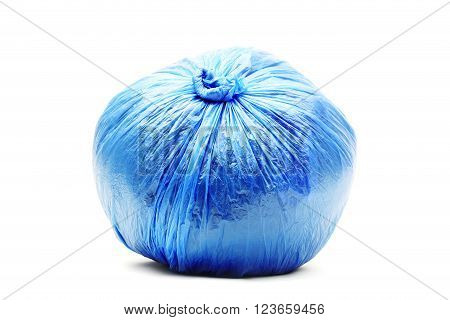 Blue rubbish bag isolated on a white