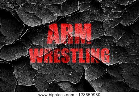 Grunge cracked arm wrestling sign background with some smooth lines
